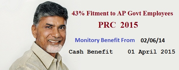 AP PRC Fitment 43% Enhancement to AP Govt Employees, Teachers PRC 2015 New Basic Pay Calculation