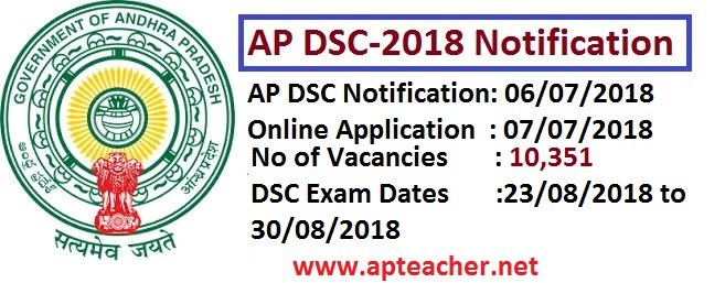 AP DSC-2018 Notification, Schedule, Syllabus  for filling up 10,351 vacancies of SGT, SA, LP, PET , AP DSC-2018 Notification for filling up 10,351 Posts will be released on 06/07/2018
