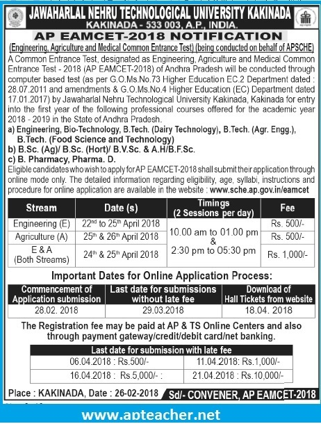 AP EAMCET 2018-19 Entrance Test  Notification, Syllabus, Eligibility, Apply AP EAMCET 2018 Entrance Test,  sche.ap.gov.in