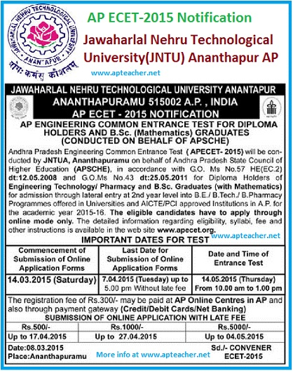 AP ECET-2015 Notification, Schedule, Syllabus, Hall tickets, Eligibility ,Jawaharlal Nehru Technological University(JNTU) ,AP ECET-2015 Notification, Syllabus,  Hall tickets,  Eligibility