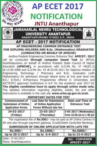 AP ECET 2017 Notification Apply Online, Syllabus, www.sche.ap.ogv.in/ecet, AP ECET 2017  Notification JNTU Anantapur  AP Engineering Common Entrance Test