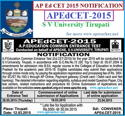 AP Ed.CET-2015 Notification,Timetable, Apply Online,AP  B.Ed Schedule, AP Ed.CET-2015 Notification
