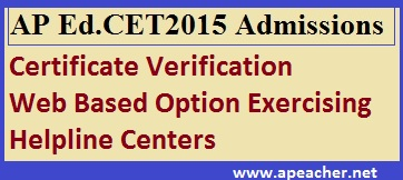 AP Ed.CET 2015 Admissions Web Based Counseling Notification, B.Ed Two Years Admissions, Certificate Verification, Course Fee