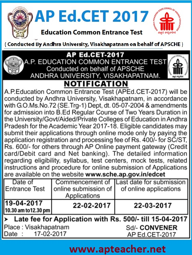 AP Ed.CET 2017  Notification Apply Online, Eligibility, Syllabus, apedcet.org | AP B.Ed Entrance Test  Apply Online