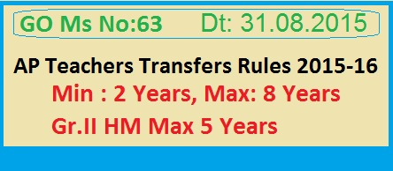 GO 63 Transfer and Postings of Employees Frozen Due to JanmaBhoomi-Maa Vooru,  AP Transfers Recommence on June 09, 2015 and shall be completed by the mid-night of 15th June 2015