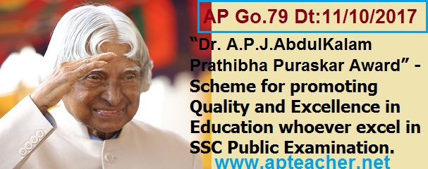 Go.79 Revised Guidelines Dr. A.P.J.AbdulKalam Prathibha Puraskar Award, Dr. A.P.J.AbdulKalam Prathibha Puraskar Award is a Scheme for promoting Quality and Excellence in 10th Class/SSC