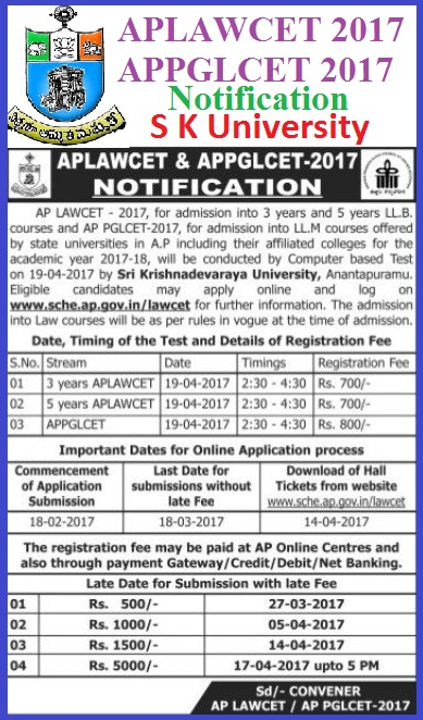 AP LAWCET 2017, AP PGLCET 2017 Notification, Syllabus, Eligibility, AP LAWCET Important Dates, Instructions, Scheme of Examination