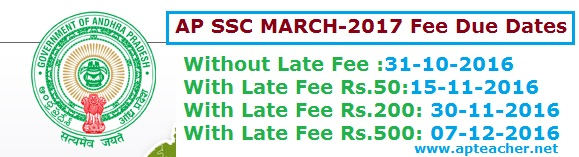 Revised  AP SSC Public Exams March 2017 Fee Due Dates and  Fee Particulars