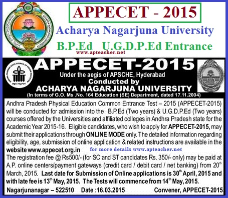 AP PECET-2015 Notification B.P.Ed,  U.G.P.Ed Two Years