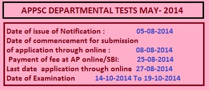 APPSC DEPARTMENTAL TESTS MAY- 2014 SESSION FROM 14-10-2014 to 19-10-2014