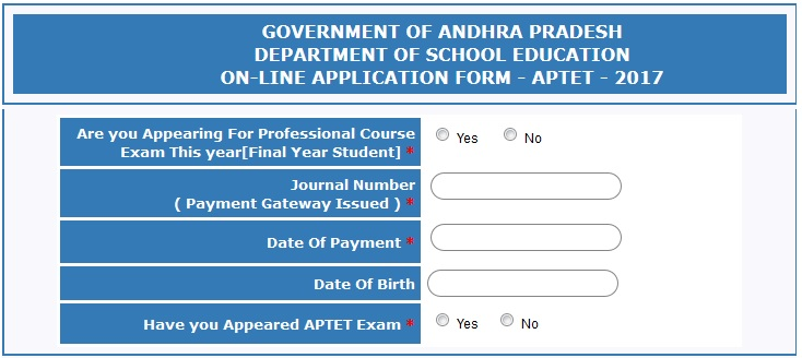 APTET Apply online, Steps to Apply Online, Mode of Fee Payment  @ aptet.apcfss.in