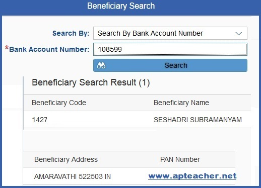 Know Your AP Employee CFMS Beneficiary ID Using Search, Comprehensive Financial Management System (CFMS) Eight Digit Employee Beneficiary ID