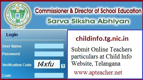 childinfo.tg.nic.in Submit Teachers Information Online,           Enter Particulars of Teachers Posts, Enrollment of Children online
