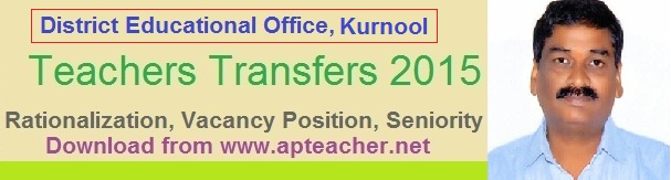DEO Kurnool rationalization list and Vacancy Position of Teachers, Teachers Transfers Seniority, Gr.II Head Master seniority  >