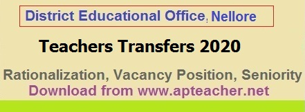 DEO Nellore rationalization list and Vacancy Position of Teachers, Teachers Transfers Seniority, Gr.II Head Master seniority  >