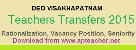 DEO Visakhapatnam rationalization list and Vacancy Position of Teachers, Teachers Seniority, Gr.II Head Master seniority  >