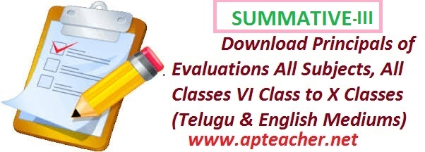 AP SA-III, SA3, Summative-3 Principles of Evaluation by AP SCERT, SA 2 Principles  of Evaluation Telugu Paper I & II , Hindi, English Paper I & II, Maths paper I & II,   Physical Science, Natural Science, Social Studies Paper I & II