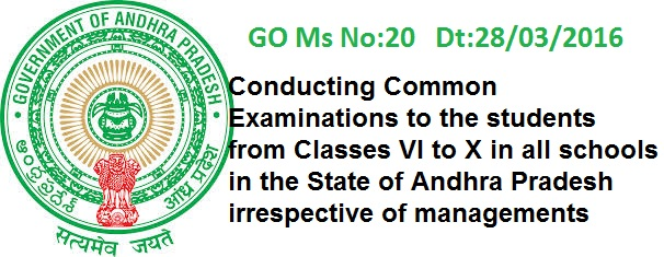 AP GO.20 Common Examinations to the students from Classes VI to X, CCE Pattern of Exams system for Classes VI to IX from the academic year 2015-16