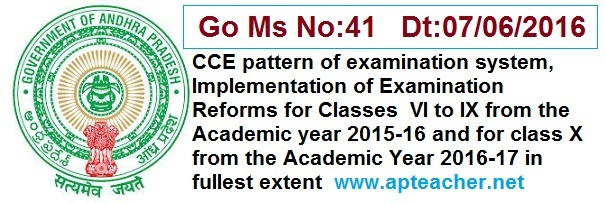 Go.41 CCE Pattern of Examination System, Implementation of Exam Reforms,     Implementation of Examination Reforms for Classes VI to IX from the Academic year 2015-16