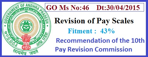 AP PRC GO 46 Revised Pay Scales, AP PRC 2015 Fitment 43%