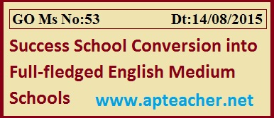 AP Go 53  Success Schools Conversion into English Medium Schools 6th to 10th Classess,       GO 53 Conversion of Success Schools into full–fledged English Medium Schools