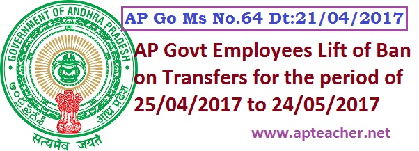 AP Government Employees Transfers and Postings from 25th April 2017 to 24th May 2017 as per AP GO Ms No:64, Ban on Transfers and Postings relaxed from 25th April 2017 to 24th May 2017 AP Go.64