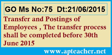AP GO 75 Transfer and Postings of Employees , AP GO 75 Transfer and Postings Ban Relaxing upto 30th June 2015 of AP Employees, GO Ms No.75