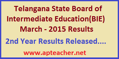 Telangana  Inter 2nd Year  Results 2015, results.cgg.gov.in,           Inter 2nd Year and 1st Year Results 2015 Telangana  Board of Inter Mediate Education(TS BIE)