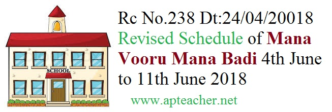 Rc No.238 Revised Schedule  Mana Vooru Mana Badi Campaign Programme, Mana Vooru Mana Badi Campaign Programme  from 04/06/2018 to 11/06/2018