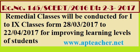 Rc.145 Guidelines for Implementing Remedial Classes after SA-3 from Class I to IX, Remedial Classes will be conducted for I to IX Classes form 28/03/2017 to 22/04/2017