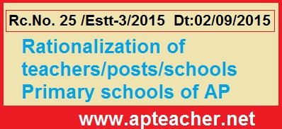 Rc No.25 Further Instructions Rationalization of Teachers in Primary Schools