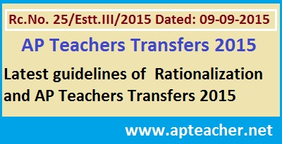 AP Rc 25 Guidelines  Rationalization and Teachers Transfers 2015 Clarifications ,  Clarifications on Rationalisation of Schools/Posts/Teachers, The cutoff date for Rationalization, Relieving of 2013 Transferred teachers >