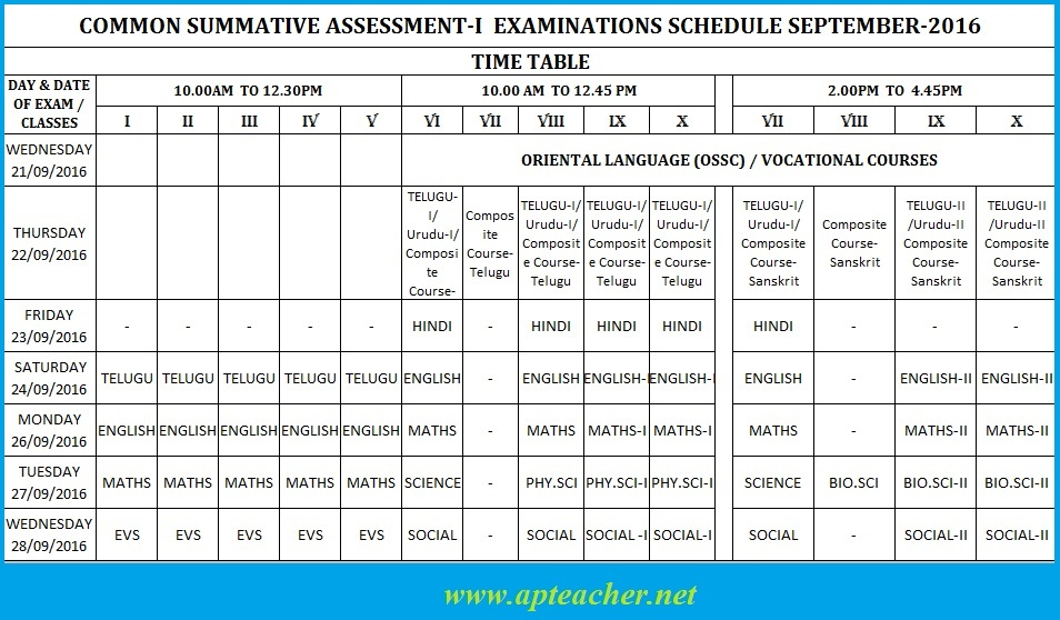 Rc 3 ap sa i time table summative common exam time table for 10th time table 2016