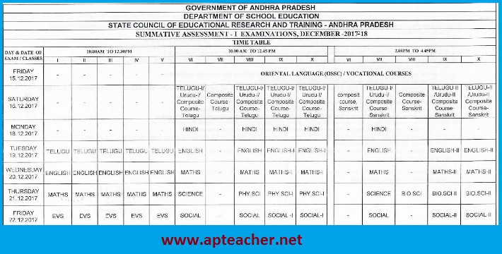 AP SA-1  Time Table 2017-18  Primary UP High Schools