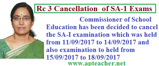 Summative Common Exam Time Table from 1st Class 1 to 10th Class, Common Summative Examination – I (SA-I) from 21/09/2017 to 28/09/2017