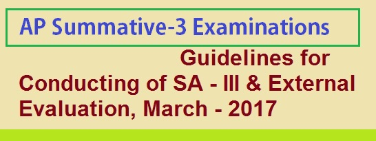 Guidelines for Conducting of Summative-III(SA3) & External Evaluation, March - 2017,  SA-III, 5% External evaluation for VI, VII & IX classes may be conducted at Mandal level