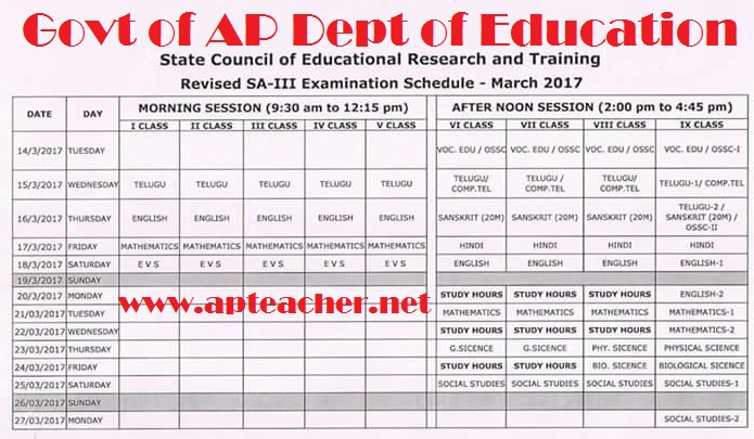 AP Summative Assessment -III | SA-III Examination Time Table March-2017,