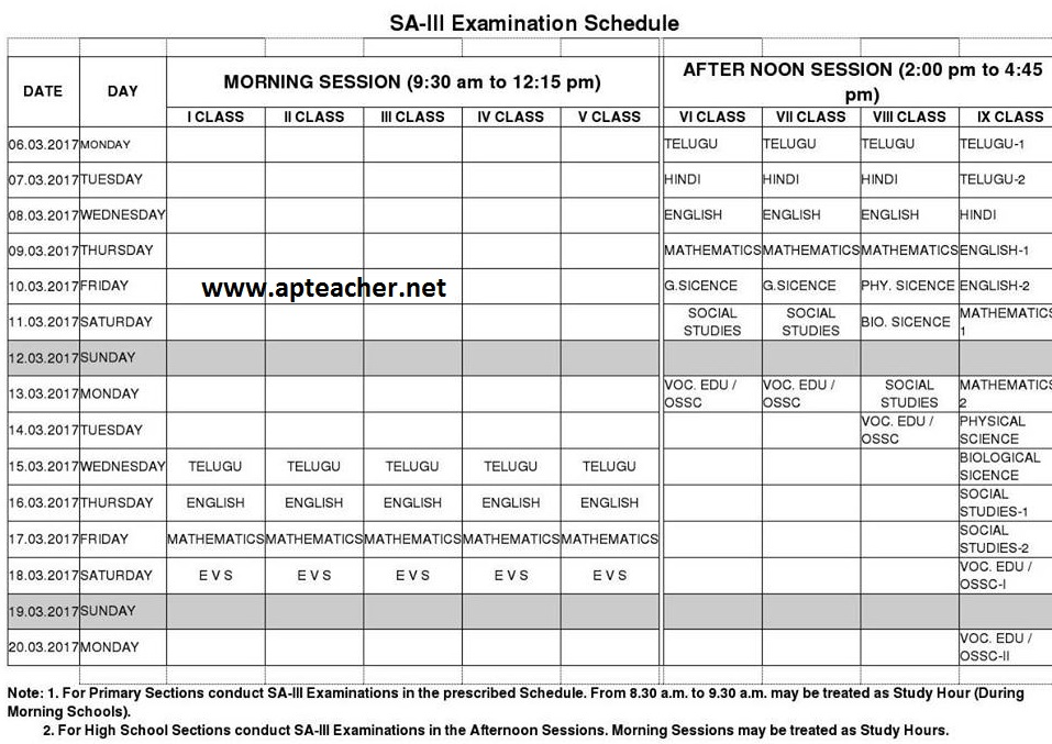 AP Summative Assessment -III | SA-III Examination Time Table March-2017,             Summative-III Examination Time Table March-2017 for the classes VI to IX