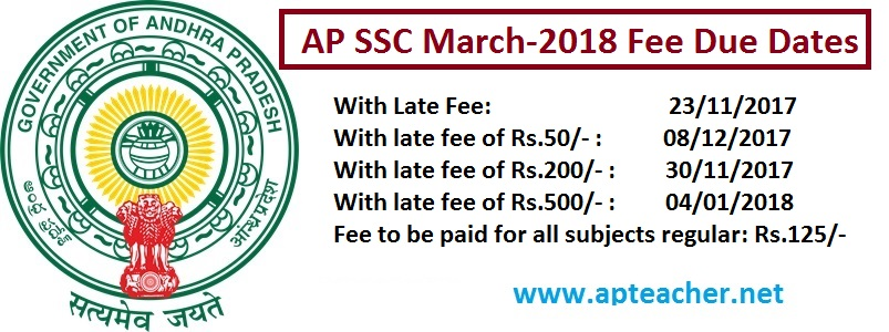 Revised  AP SSC Public Exams March 2018 Fee Due Dates and  Fee Particulars