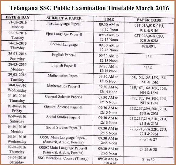 BSE Telangana, bsetelangana.org,Telangana 10th Class/SSC March 2016 Examination Timetable, bsetelangana | SSC March 2016 Examination Timetable