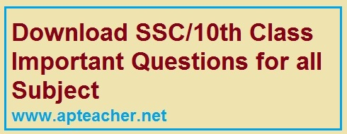 Download  SSC/10th Class Subject Wise Important Questions, Download  SSC/10th Class All Subject Important Questions