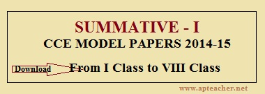 Summative Model Papers 2014-15 Question Papers for the classes from I to VIII