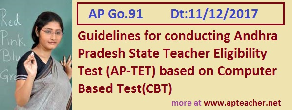 Go.91 New Guidelines to Conduct AP Teacher Eligibility Test (AP-TET) as CBT, AP-TET Notification, Guidelines, Syllabus, Exam Pattern