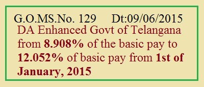 TS GO 129 DA@12.052% Enhanced from 8.908% Telangana Govt Employees, DA Enhanced from 8.908% of the basic pay to 12.052% of basic pay from 1st of January, 2015 />