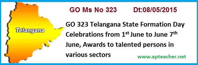 GO 323 Telangana State Formation Day Celebrations, Awards to Talented persons, TS GO 323 TS Formation Day Celebrations State Level Award Selection  Committee constitution