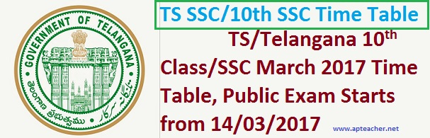 TS  SSC/10th Class March 2017 Public Examinations  Schedule ,  10th Class Public Exam  Schedule