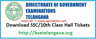 Telangana bse SSC,  10th Class Hall Ticket Download