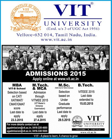 VIT Admissions 2015-16, VITEEE-2015, Notification 2015, VIT University,  Vellore Institute of Technology(VIT)